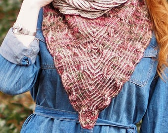 Hand Knitting Pattern // Overture Cowl Brioche and Cable Bandanna // Fingering Weight Two Color Buttoned Reversible Neck Cowl