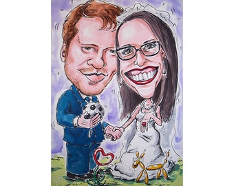 Caricature of married couple made with black marker and watercolor-from photo-wedding