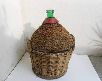 Italienischem Glas, Portwein, große Größe, mit Stroh, Korb