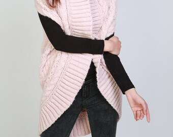 Hand knit long vest sweater Wool Pink woman sweater
