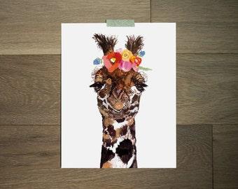 Giraffe art print - flower crown - modern animal - funny art - Boho art - African art