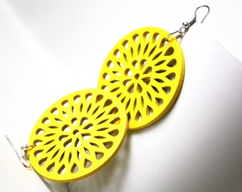 Buy 3 get 1 FREE//Trendy Yellow Lemon Laser Cut  ,Naturally Beauty Recycle Wood  Earring