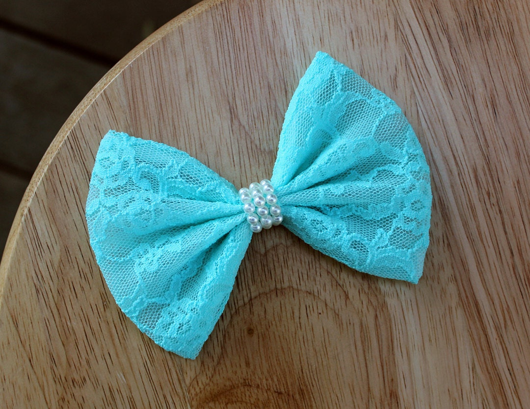 4.5 blue lace hair bow pastel blue lace bow blue lace