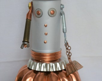 Copper Pastry Girl BOT Assemblage Sculpture Robot Junk Art