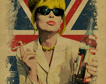 What Would Patsy Do, Sweetie? Ab Fab. Absolutely Fabulous. Patsy Stone. Edina. 12x18. Kraft paper. BBC. Campy. Art. Print. Gay. Drag Queen.