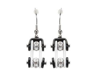 Two Tone White Black Silver Crystal Centers Bike Chain Earrings Stainless Steel Motorcycle Biker Jewelry
