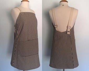 Black Stripe Japanese Apron, Criss Cross Apron, Canvas Apron, Black and Cream Ticking Stripe Fabric, Short or Long Length, Crisscross Apron