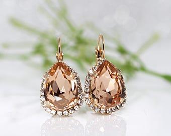 Rose Gold Earrings, Rose Gold Leverback ,Teardrop Earrings, Rose Gold Swarovski, Bridesmaid Rose Gold Earrings, Rose Gold Wedding Jewelry
