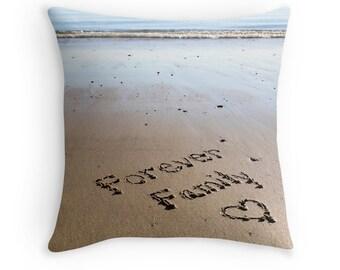 Beach Theme Pillow Cover- Forever Family, beach photo pillowcase, Coastal Art Beach Decor, Mom gift, beach writing, beach heart throw pillow