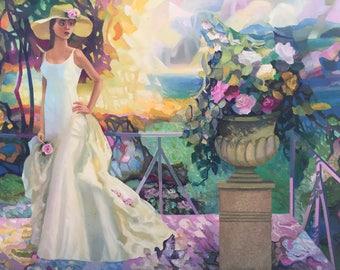 "Fedir Panchuk original oil painting on canvas ""Expectation"""