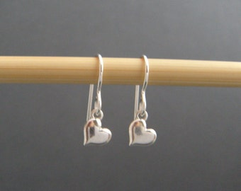 tiny sterling silver heart earrings leverback lever back hook dangles silver heart everyday jewelry. drop earrings. simple 6.5 mm heart 1/4""