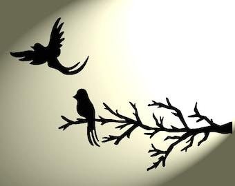 Shabby chic Stencil 2 Birds Rustic tree Branch Vintage style A4 297x210mm Mylar