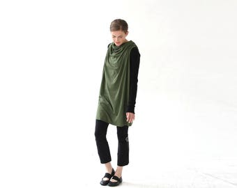 Green Racerback Cotton Tunic, Breast feeding dress, breast feeding tunic, breast feeding cover, nursing shirt, green tunic dress women