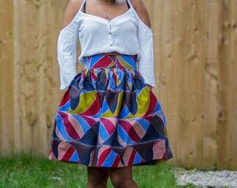 Midi skirt, gathered skirt, ankara skirt, skirt, retro skirt,