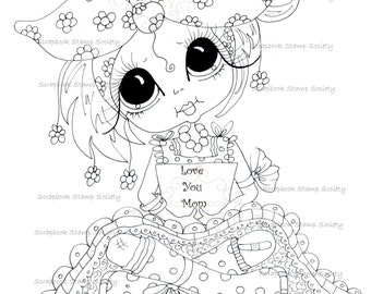 INSTANT DOWNLOAD Digital Digi Stamps Big Eye Big Head Dolls Digi  Love You Mom By Sherri Baldy