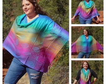Rainbow Unicorn Paisley Pashmina Poncho Shawl