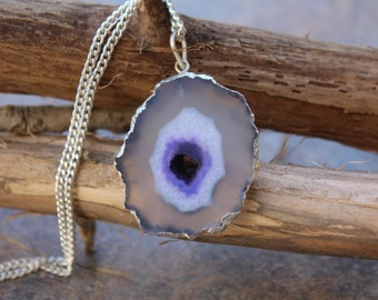 agate necklace,agate slice necklace,silver pendant,colorful agate necklace,agate pendant,silver agate necklace,gypsy jewelry,silver necklace