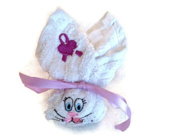 White and Purple Boo-boo Bunny Rabbit Embroidered Gift Basket Heart Ribbon