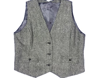 Escada Herring Bone Wool Vest Size L/XL