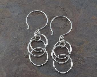 MYSTIC SILVER EARRINGS sterling silver dangle earrings long earrings interlocking circles everyday earrings