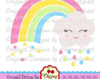 Rainbow SVG DXF Summer rainbow with cloud svg Silhouette & Cricut Cut design and clip art SUM11 -Personal and Commercial Use