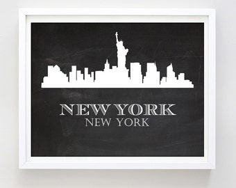 New York Art Print Printable Poster New York City Skyline Chalkboard NYC Silhouette Print Urban Art Home Office Wall Decor Digital Download