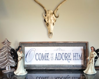 Come Let Us Adore Him Barn Wood Frame Rustic Christmas Holiday Home Decor Sign - Made in USA