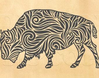 Bison SVG, buffalo svg, dxf, png, eps, Silhouette Studio, Cricut, buffalo zentangle, vinyl cutting, shirt designs, Wall art, tattoo design