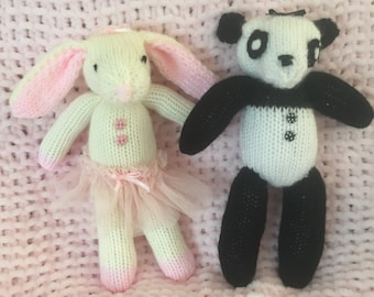 Machine knit easy Bunny and Panda Toy