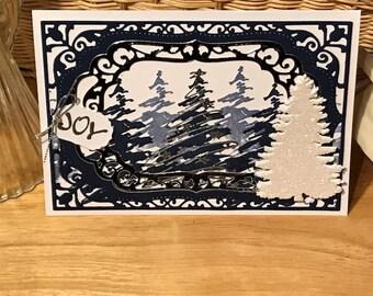 Christmas tree card, Blue and silver Christmas card, Christmas card fundraiser