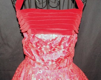 1950s Halter Evening Dress Sz Junior 3 Vintage Retro