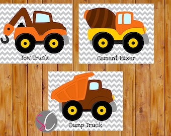 Boys Construction Trucks Wall Art Vehicles Room Decor Brown Orange 3  8x10 Digital JPG Files   Instant Download (73)