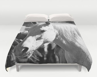Horse Duvet Cover, Horse Bedding, Black and White Duvet, Horse Decor, Horse Lover Gift, Queen Comforter Cover, Horse Room Decor, Horse Gifts