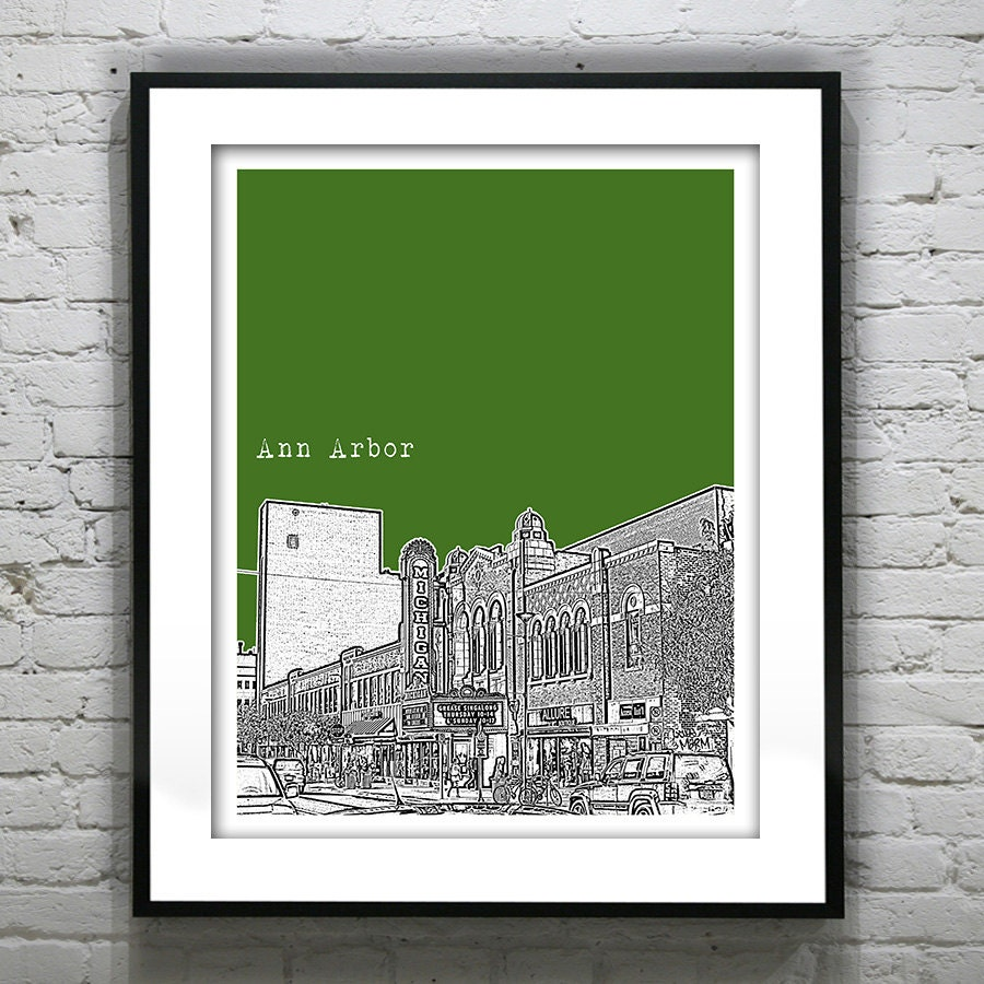 Ann Arbor Michigan City Skyline Poster City Art Print MI Item