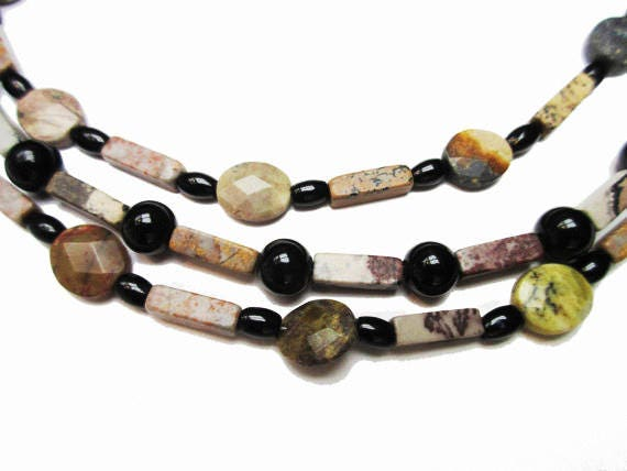 Boho Gemstone bead necklace- Triple strand -  Agate jasper onyx   23 inches   Handmade