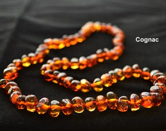 Baltic Amber Necklace For Adults 40-70cm Choose Color Made of Polished Cognac Cherry Honey Lemon Baroque Beads jewelry