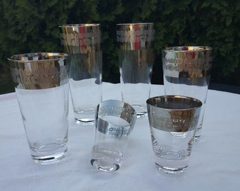 Vintage Silver Barware, Glasses, Temporama, 1960's, Madmen Style, Dorothy Thorpe Style, Silver Rimmed, Starburst, Alien, Heiroglyphics