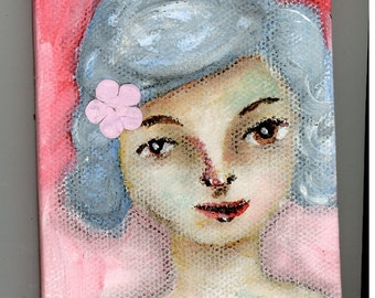 SALE Sally Jean, 3x4 inch Mini Original Painting, Small Work, Girl Portrait Painting, Woman's Face, Blue Hair, Brown Eyes, Flower in Hair