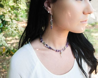 Amethyst and quartz earring and necklace set