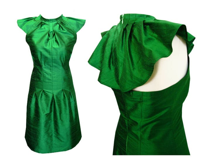 ON STOCK emerald Origami silkdress with wingsleeves