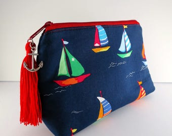 Sailboat Zipper Pouch, Nautical Bag, Make-up Pouch, Cosmetic Pouch, Toiletry bag, Travel Pouch