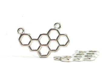 4 hexagon shaped charms - Honeycomb - Sun. : 23 x 15 mm - silver plate