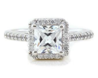 Princess Cut Moissanite Engagement Ring Diamond Halo  - Pretty as a Princess