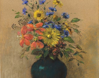 Fine Art Reproduction. Wildflowers, c. 1905 by Odilon Redon . Fine Art Print
