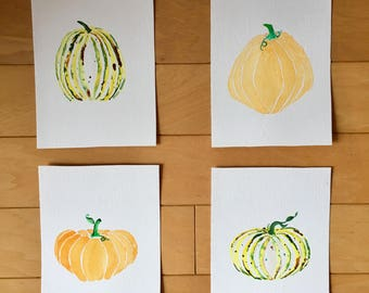 Set of 4 Original Watercolor Pumpkins