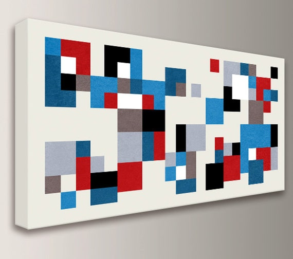 "Mid Century Wall Art Geometric Canvas Print Red White and Blue Mid Century Modern Home Decor Wall Art Digital Print  ""Hopscotch"""