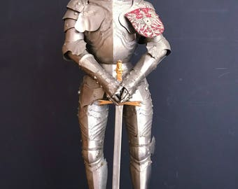 Antique Miniature Suit of Armor 19th Century - German Gothic Style of 15th Century Knight with Sword, Mounted