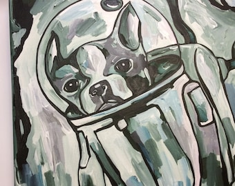 Boston Terrier in space (forest green hues)