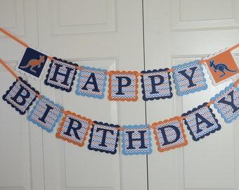 Kangaroo Happy Birthday Banner, Happy Birthday Sign, Navy blue, L. Royal Blue, White  and Burnt Orange Banner, Kangaroo Theme