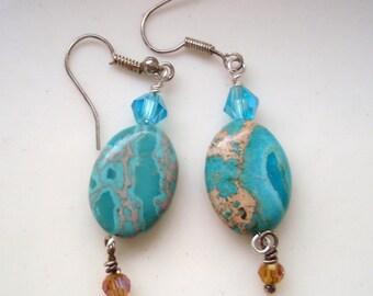 Teal green oval earrings with Swarovski Crystals, Silver Earrings, Imitation Jasper Earrings